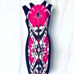 Cache Cold Shoulder Color Block Print Dress
